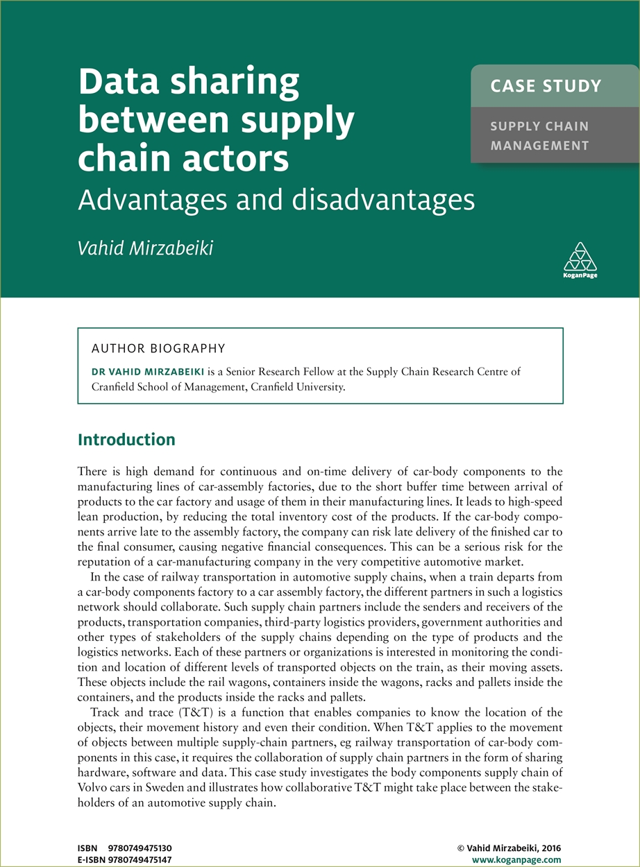 Case Study: Data Sharing Between Supply Chain Actors (9780749475130)