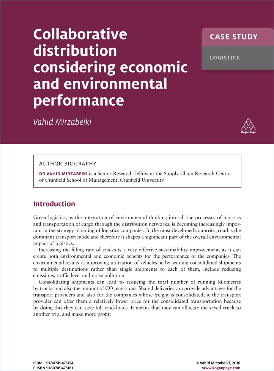 Case Study: Collaborative Distribution Considering Economic and Environmental Performance (9780749475154)