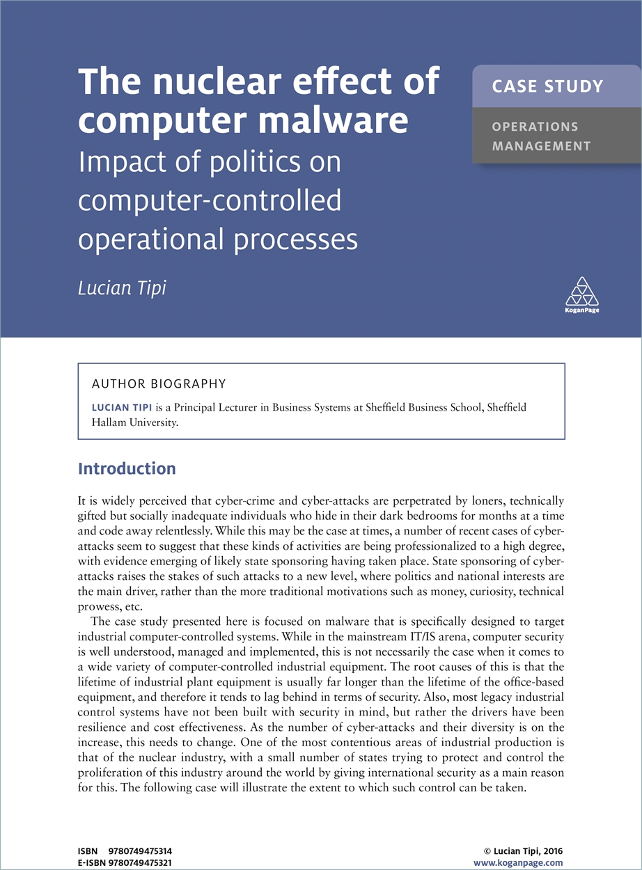 Case Study: The Nuclear Effect of Computer Malware (9780749475314)