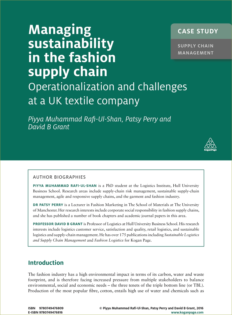 Case Study: Managing Sustainability in the Fashion Supply Chain (9780749476809)