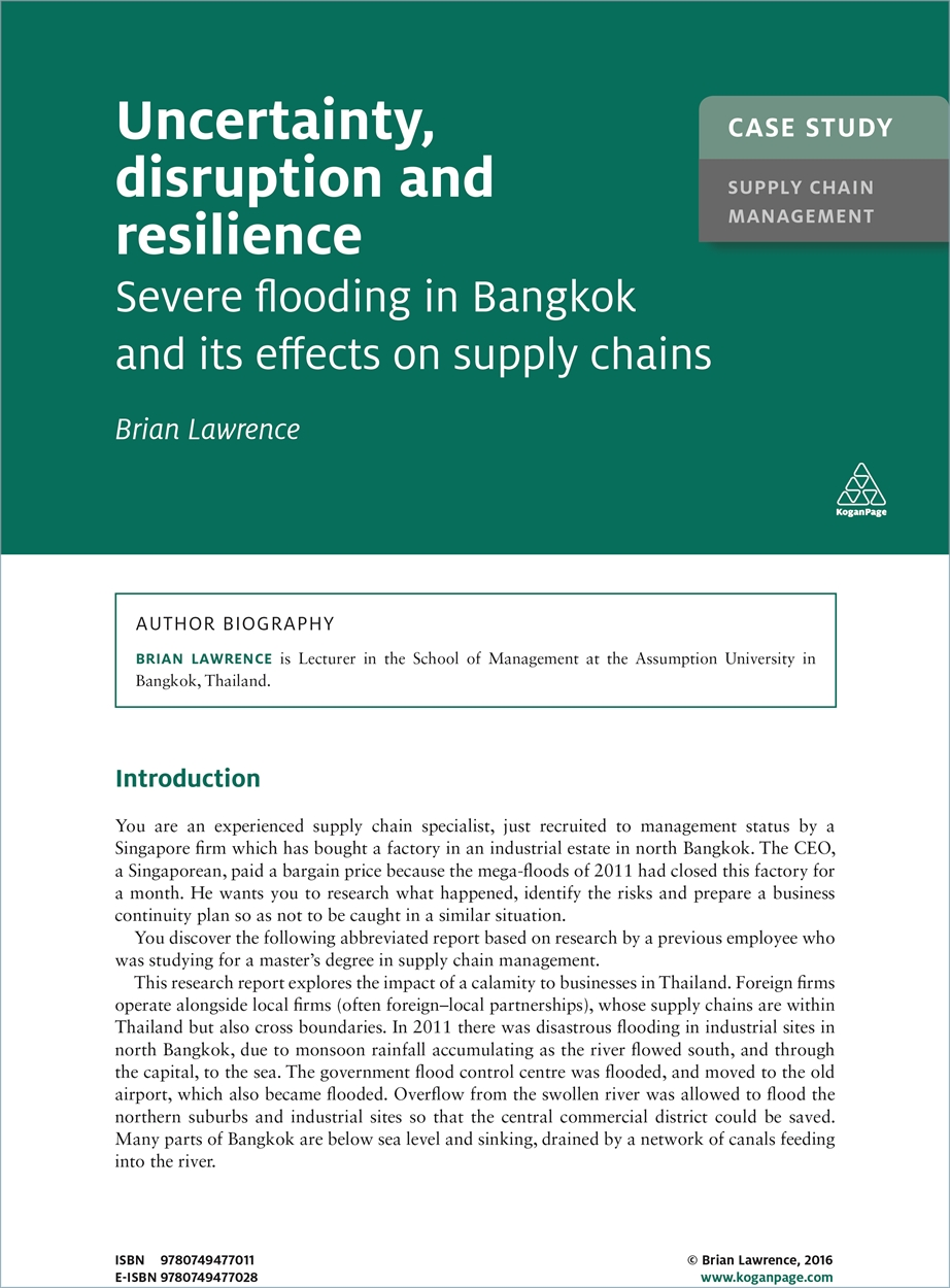 Case Study: Uncertainty, Disruption and Resilience (9780749477011)