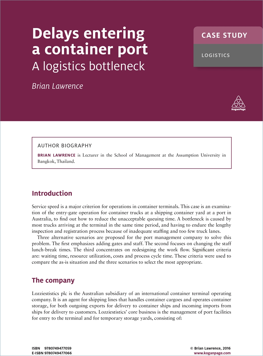 Case Study: Delays Entering a Container Port (9780749477059)
