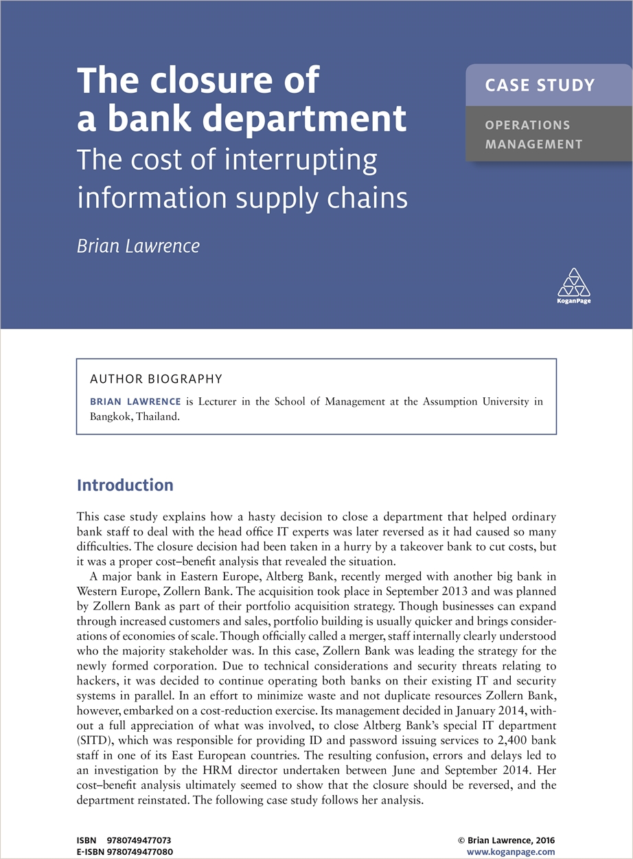 Case Study: The Closure of a Bank Department (9780749477073)