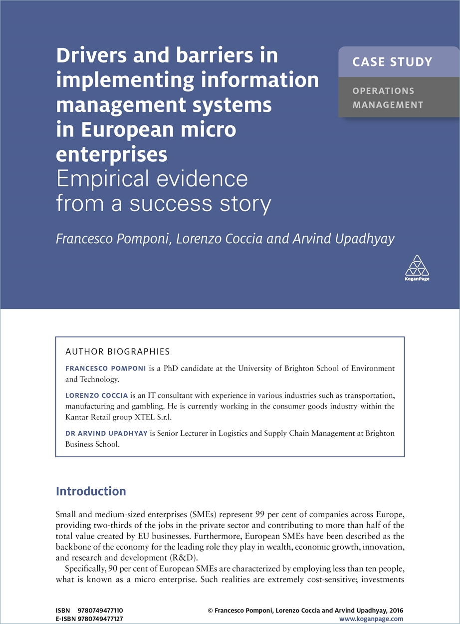 Case Study: Drivers and Barriers in Implementing Information Management Systems in European Micro Enterprises (9780749477110)