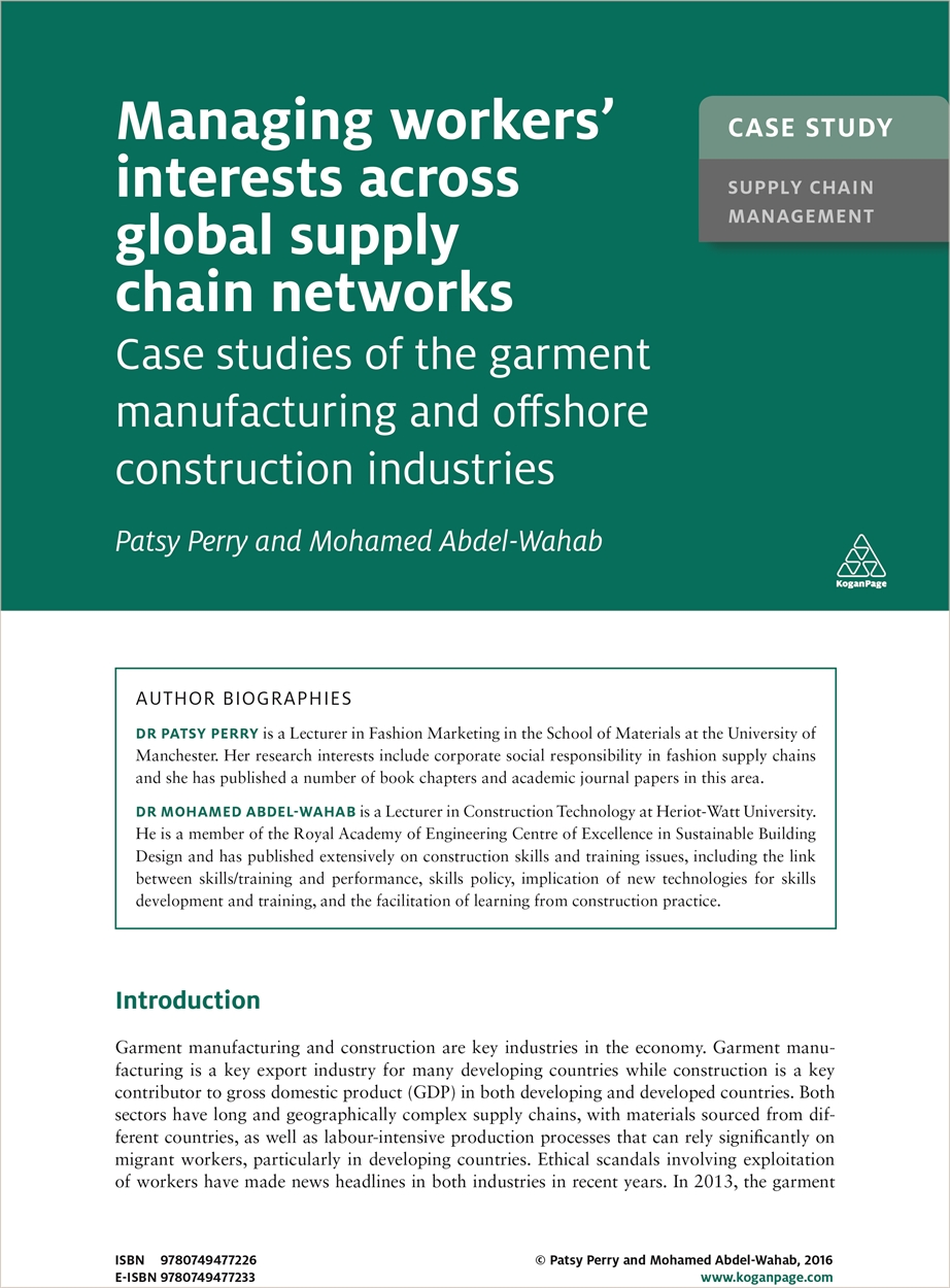 Case Study: Managing Workers' Interests Across Global Supply Chains Networks (9780749477226)