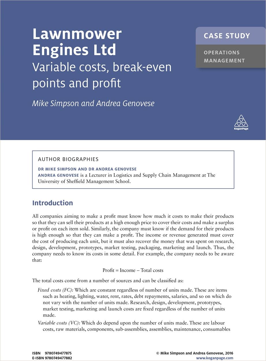 Case Study: Lawnmower Engines Ltd (9780749477875)