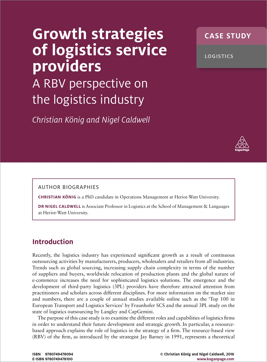 Case Study: Growth Strategies of Logistics Service Providers (9780749478094)